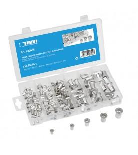 Aluminum nut rivet set 120pcs FERVI 0376/AL