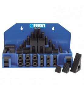 Clamping kit with 12mm slot 58pcs. FERVI K001/12