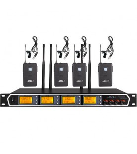 Receiver set with 4 Wireless Lavalier Microphone